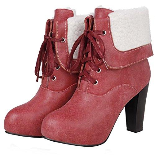 AIYOUMEI Damen Geschlossen Blockabsatz Stiefeletten mit plateau und 10cm Absatz Schnürstiefeletten NH8EPn