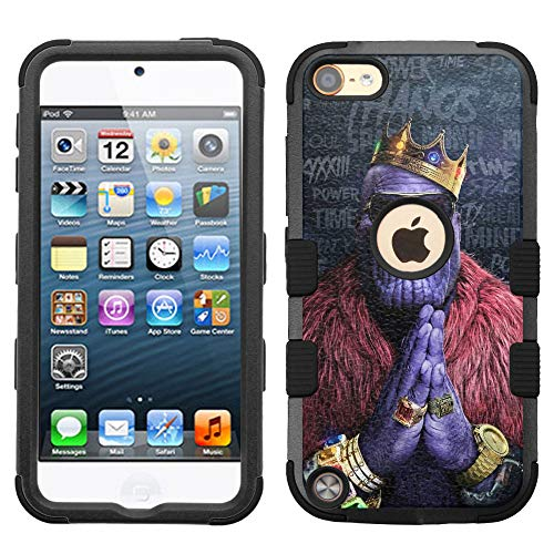 - for Apple iPod Touch 6, Touch 5, Hard+Rubber Dual Layer Hybrid Heavy-Duty Rugged Impact Cover Case - Avengers Thanos #Crown