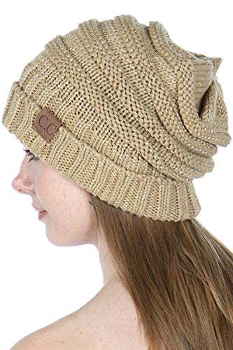 (SERENITA Beanie Hat Knit Warm Winter Cap for Women Unisex, Slouchy Soft Skull Chunky Cable Hats, Solid - Metallic Gold)