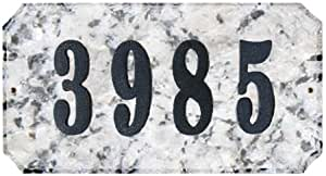 Qualarc EXE-4702WG-PN Executive Rectangle Address Plaque in White Granite Natural Stone Color with 4-Inch Polymer Numbers