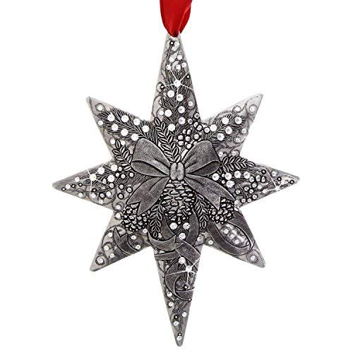 Wendell August Ribbons and Bows Centennial Star Ornament - Hand-Hammered Aluminum Hanging Ornament with Swarovski Crystals - Made in USA Tree Decoration, 6
