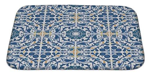 (Gear New Portuguese Tiles Bath Mat Rug, Microfiber Memory Foam with no Skid Back, 34