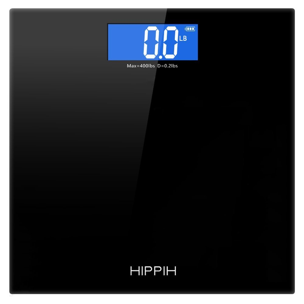 Hippih 400lb / 180kg Electronic Bathroom Scale with Tempered Right Angle Glass Balance Platform and Advanced Step-On Technology, Digital Weight Scale has Large Easy Read Backlit LCD Display D-010 4332442926
