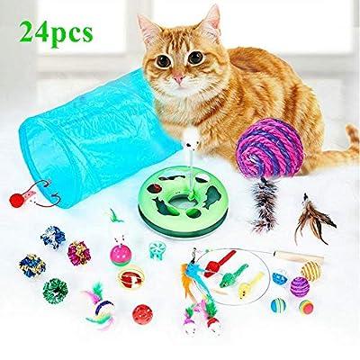 Kitten Toys WERTYCITY 35pcs Cat Toys Kitten Toys Assortments, 3 Way Tunnel,...