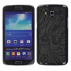 rígido protector delgado Shell Prima Delgada Casa Carcasa Funda Case Bandera Cover Armor para Samsung Galaxy Grand 2 SM-G7102 SM-G7105 /Grey Pattern Shirt Fabric Pattern/ STRONG