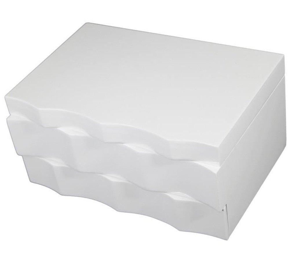 Scatola portagioie in legno bianco con 2/cassetti con specchio design ondulato