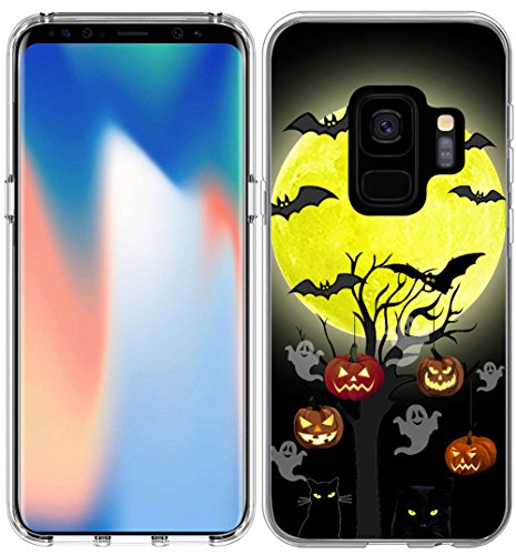 S9 Case Halloween Pumpkin/IWONE Designer TPU Non Slip Rubber Durable Compatible Protective Cover for Samsung for Galaxy S9 + Halloween Design Gift Present Black Cat Bat]()