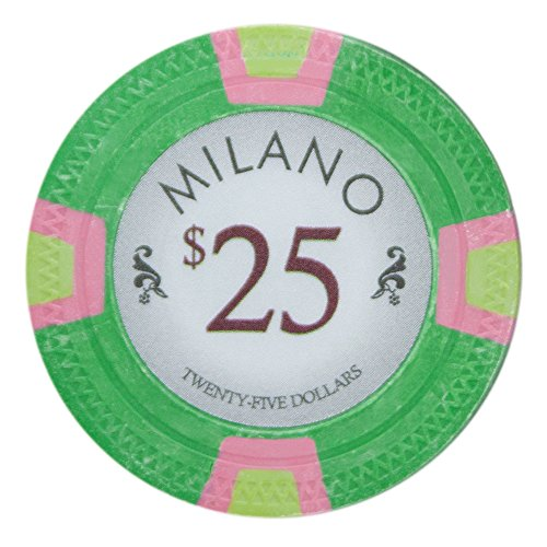 Claysmith Gaming Milano Poker Chip Lightweight 10-Gram Casino Clay - Pack of 50 ($25 Green)