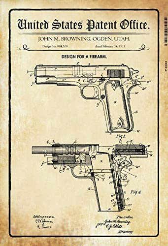 Jeremy Mann US Patent Pistole Pistol Browning 1911 Tin Sign Custom Metal Sign 12X8in-Bar Cafe Restaurant Home Decor ()