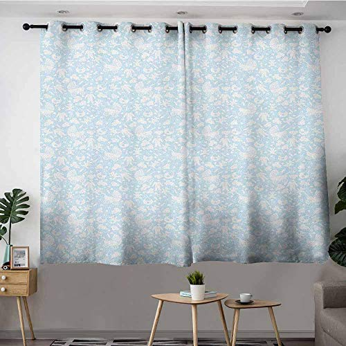 DGGO Blackout Curtains Panels,Baby Hearts Background with Teddy Bears Strollers Infant Clothes Newborn Child Theme,Space Decorations,W55x63L Pale Blue White