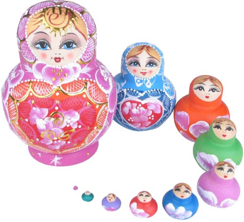 NuoYa001 New 10pcs Babushka Wooden Russian Nesting Dolls Wishing doll Trad hand painted