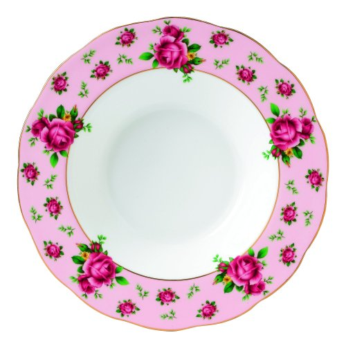 Royal Albert New Country Roses Formal Vintage Rimmed Soup/Salad Bowl, 11-Inch, Pink ()