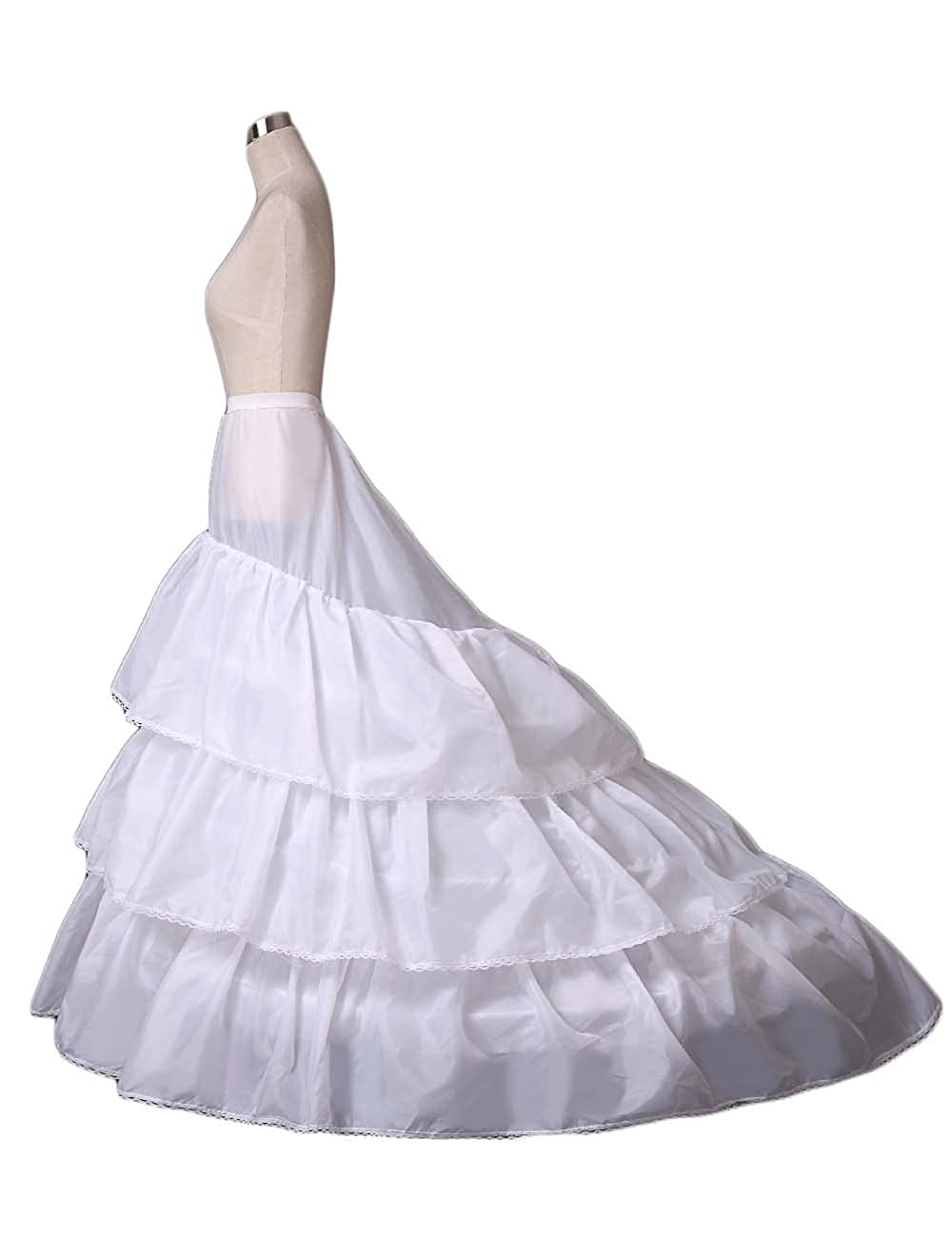 PromCC Womens A-line 3-Hoop Petticoat Skirt Crinoline Wedding Dress Train 9007