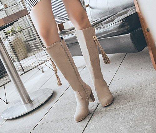 Mee Beige Mid Heel Zip Knee Charm Shoes Boots Block Women's BrzwfBqR