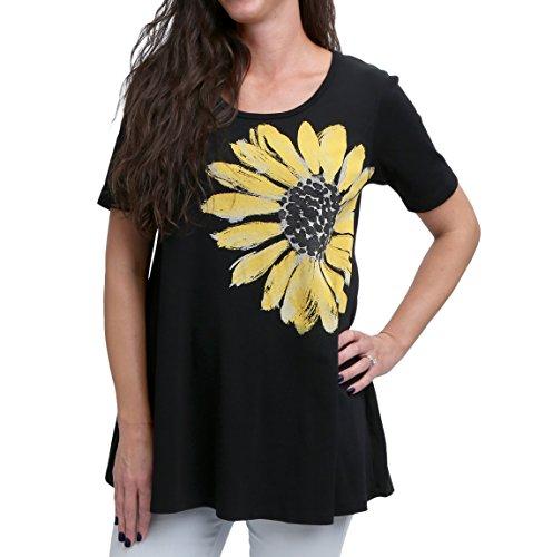 - Green 3 Spring Short Sleeve Tunic Top - 100% Organic Cotton Womens T Shirt, Made in The USA (Daisy on Black, Medium)