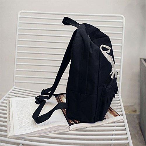 Espeedy Simple lienzo mochila estudiantes adolescentes mujeres niñas Escuela bolsa mochila Backpack negro