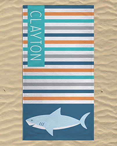 Personalized Shark Towels for Kids, Microfiber Swim Towels Quick Dry, Shark Beach Towel, Personalized Beach Towel for Kids, Microfiber Towel for Travel, Large Beach Towel 60 x 30 (Personalized Shark)