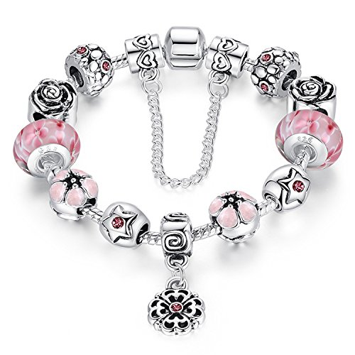 Amethyst Murano Bracelets (Love Beads Charms Bracelet for Girls and Women Murano Glass Beads Rose Flower Charms Amethyst Bracelets (Murano glass bead bracelet))