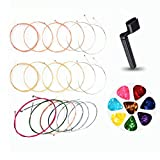 Acoustic 6 Guitar Strings, 3 Sets Replacement Steel String with 8 Celluloid Guitar Picks Includes Thin Medium Gauge Strings 1 Pack Gold, 1 Pack Brass, 1 Pack Mixture (Gift: 1 Strings Winder)