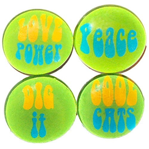 Magnet Mania! 60's Retro Glass Word Magnets - 4 Count - Dig It! - Cool Cats - Love Power - Peace