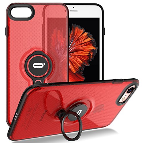 iPhone 8 Case/iPhone 7 Crystal Case with Ring Holder Kickstand Function, 360 Degree Rotating Ring Holder Grip Case Ultra Slim Thin Hard Cover for iPhone 8 / iPhone 7 (4.7inch) (Red)