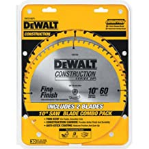 DEWALT DW3106P5 2 Blade 10-Inch 60-Tooth Crosscutting Saw Blade and 10-Inch 32-Tooth General Purpose Saw Blade Combo Pack