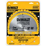 DEWALT 10-Inch Miter / Table Saw Blades, 60-Tooth Crosscutting & 32-Tooth General Purpose, Combo Pack (DW3106P5),Metallic
