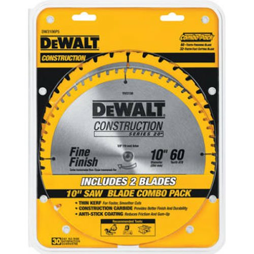 DEWALT DW3106P5 60-Tooth Crosscutting and 32-Tooth General Purpose 10-Inch Saw Blade Combo Pack Carbide Tooth Thin Kerf Wood