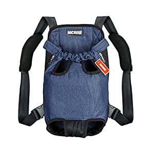 NICREW [Upgraded the Straps] Legs Out Front Dog Carrier, Hands-Free Adjustable Pet Backpack Carrier, Wide Straps with Shoulder Pads