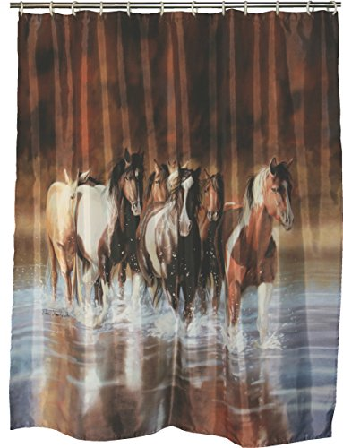 River's Edge Products Shower Curtain, V Schultz (Horse Bathroom Shower Curtain)