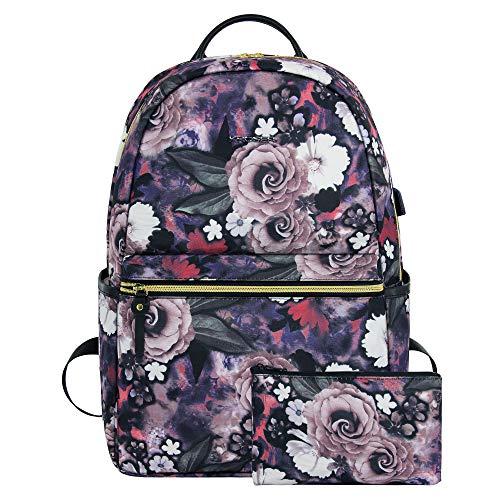 KROSER Laptop Rucksack 15,6 Zoll Schulrucksack Wasserdichter Tagesrucksack Fashion Blumen Kosmetiktasche mit USB Ladeanschluss für Frauen/Mädchen-Rosenmuster MEHRWEG