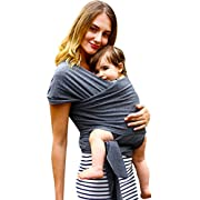 Simply Life Baby Wrap Carrier - Flexible Adjustable Wrap Around Sling, Infant Carriers for Men and Women, Suitable for Newborn and Toddlers Up to 35 Lbs, Nursing Cover Swaddle Blanket - Large, Gray