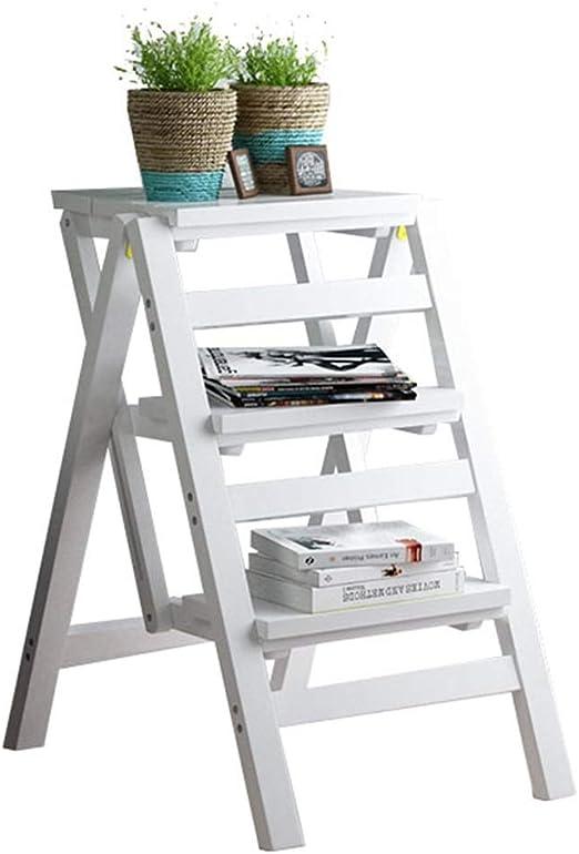 Escalera plegable de 3 niveles independiente | Escalera estante inclinada oficina en casa | Marco de madera decoración estantería | Estante de flores de almacenamiento | Estante de exhibicion: Amazon.es: Hogar
