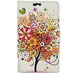 Voguecase® Per Huawei Y3 (Huawei Y360)(4.0 pollici) Elegante borsa in pelle Custodia Case Cover Protezione chiusura ventosa (albero colorato) Con Stilo Penna
