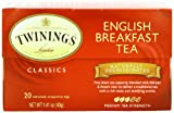 Twinings of London Decaffeinated English Breakfast Black Tea Bags, 20 Count