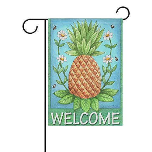 ALAZA Summer Tropical Pineapple Flowers Welcome Polyester House Flag Banner 28″ x 40″ Twin Sides, Daisy Floral Bees Summer Fall Flower Garden Flags for Anniversary Yard Outdoor Decoration For Sale