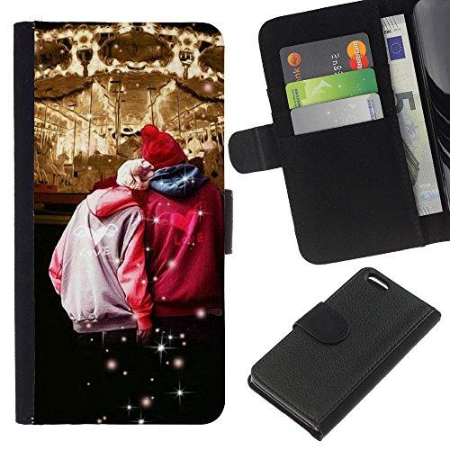 Lead-Star (Design Circues Couple Hipster) Colorful Impression Holster Cuir Wallet Cover Housse Peau Cas Case Coque Pour Apple iPhone 5C