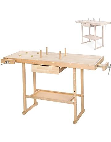TecTake - Banco de trabajo de madera, disponible en diferentes tamaños (137 x 50