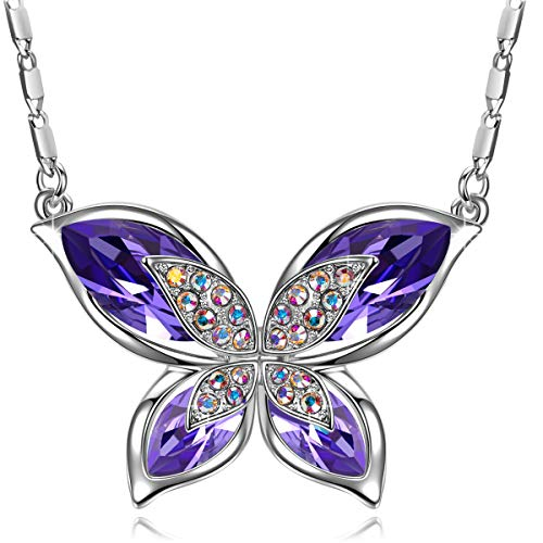 SIVERY Christmas Day Gifts for Her 'Butterfly' Women Necklace Jewelry with New Crystals from Swarovski, Gifts for Girlfriend and Mom (Purple Butterfly) ()