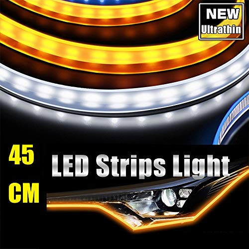 45CM Ultrathin LED Strip Lights DRL Daytime Running Headlight White-Amber Dual Color 2pcs Waterproof Flexible LED Tube Side Signal Light (17inch)