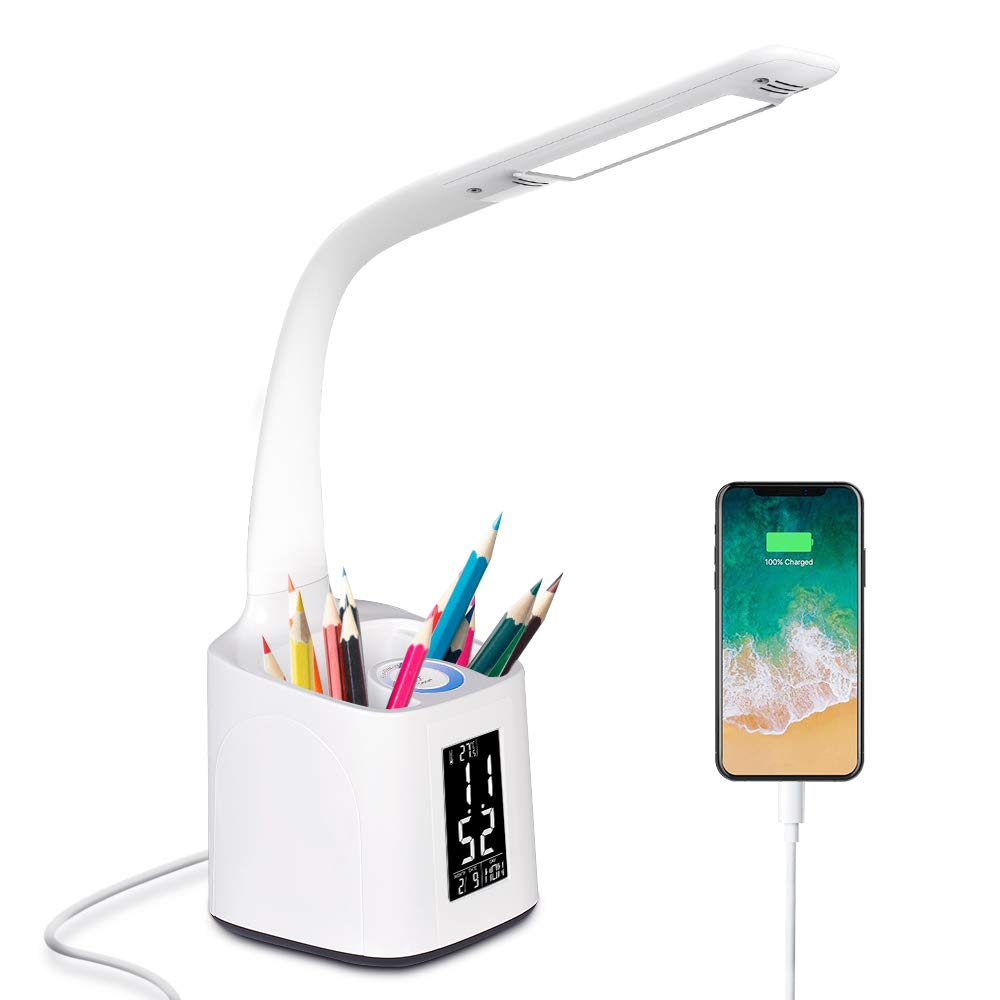 Donewin Dimmable LED Desk Lamp,LCD Screen with Calendar&Alarm&Thermometer,Pen Holder,Eye-Caring Study Lamp of Student/Children/Worker,Office Lamp with USB Charging Port,5V,White