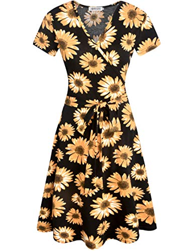 Aphratti Women's Short Sleeve V Neck Faux Wrap Fit and Flare Dress Work Casual Sunflower/Black - Sunflower Wrap