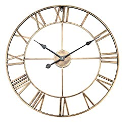 Aramox Wall Clock Classic Metal Large Round Shaped Antique Iron Wall Clock Roman Numerals for Living Room, Home Cafe Decor (Gold 60cm)