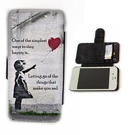 Banksy Girl with Balloon quote leather card wallet flip phone case cover for iPhone 5 and 5S