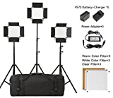 LED Video Light Lighting Kit,Metal Dimmable 660Pro Continuous Lighting Panel with Battery and Light Stand for Studio Lighting,Video Shooting,YouTube Lighting,Product Photography 3200k/5600K [Set of 3]