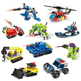 PlanckToy 10 Packs Mini Building Blocks Cars Toys Sets Hyper-Function Tactical Unit Assembly Construction Trucks Police Cars, Party Favor Goodie Bags Christmas Stocking Stuffers for Kids