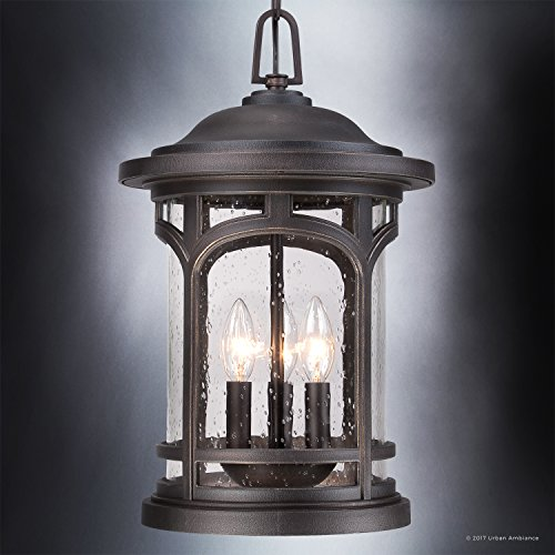 Luxury Rustic Outdoor Pendant Light, Large Size: 18''H x 11''W, with Colonial Style Elements, Wrought Iron Design, Oil Rubbed Parisian Bronze Finish and Seeded Glass, UQL1109 by Urban Ambiance by Urban Ambiance (Image #2)