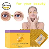 30 Pairs Under Eye Patches, Under Eye Bags Treatment Gold Under Eye Mask Anti-Aging for Moisturizing and Reducing Dark Circles Puffiness Wrinkles
