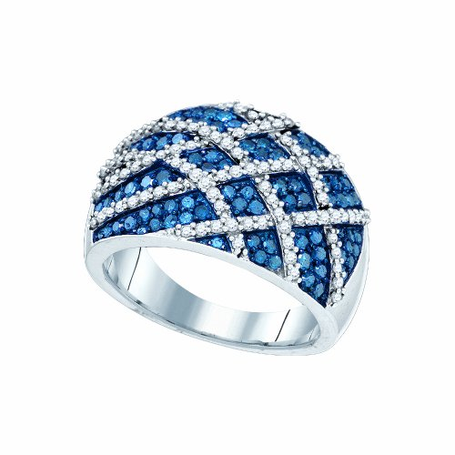 K White Gold Blue & White Round Cut Diamond Ladies Cocktail Right Hand Ring (Cut Diamond Cocktail Ring)