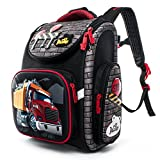 Delune Folding School Backpack for Kids Waterproof Red Truck Bookbag for Boys